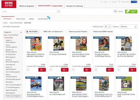 Mehr als 100 Zeitschriften hat der Onlineshop von Rewe im Sortiment. Screenshot: shop.rewe.de